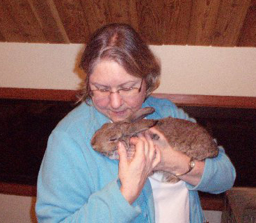Copper purring in the arms of Chris, one of Rabbit Haven's most experienced volunteers.