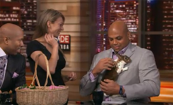 Charles Barkley holdng a rabbit