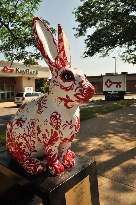 Garden Party rabbit art by Laurie Musser