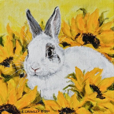 Rabbit painting by Eileen Crowley