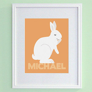 Personalized Bunny Rabbit Nursery Art