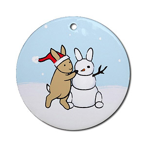 Snow Bunny Round Ornament