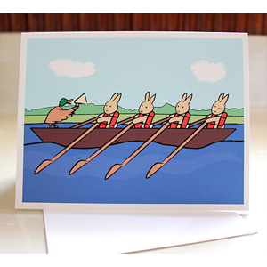Rowing Bunnies Greeting Cards