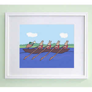 Rowing Bunnies Print
