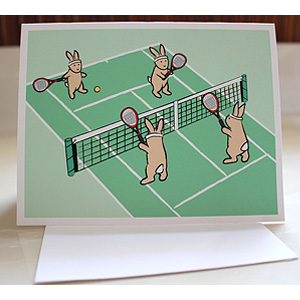 Bunny Tennis Greeting Cards
