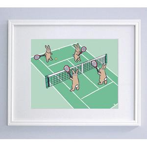 Tennis Bunnies Print